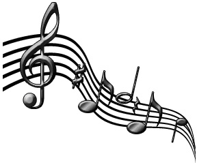 Music notes flowing
